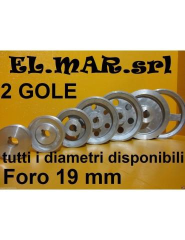Puleggia Foro 19 mm 2 Gole Sez A Alluminio