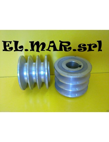 Puleggia Foro 24 mm 3 Gole x Motore Elettrico Sezione A Alluminio