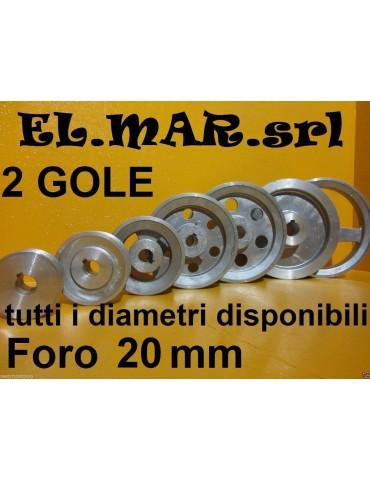 Puleggia Foro 20 mm 2 Gole Sez A Alluminio