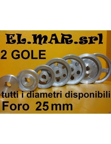 Puleggia Foro 25 mm 2 Gole Sez A Alluminio