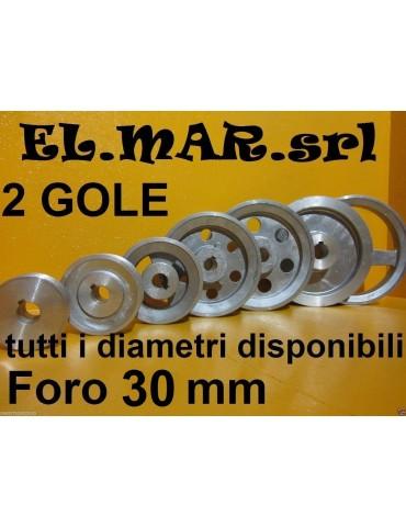 Puleggia Foro 30 mm 2 Gole Sez A Alluminio
