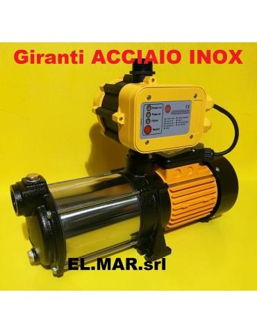 1 HP 0,75 KW + Presscontrol MULTI EVINOX 20P-4M Elettropompa Centrifuga Multigirante Silenziosa Pompa GLONG Acciaio INOX