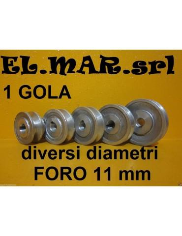 Puleggia Foro 11 mm 1 Gola Sez. A Alluminio