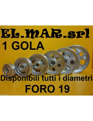 Puleggia Foro 19 mm 1 Gola Sez A Alluminio