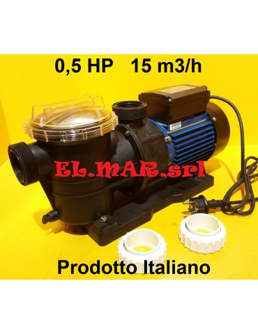 Elettropompa per Piscina HP 0,5 Pompa con prefiltro Monofase 370 W 250 lt/min